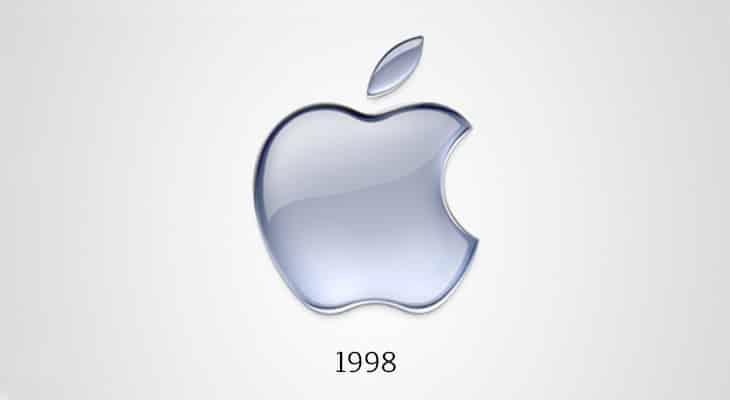 Il logo Apple monocromatico, 1998