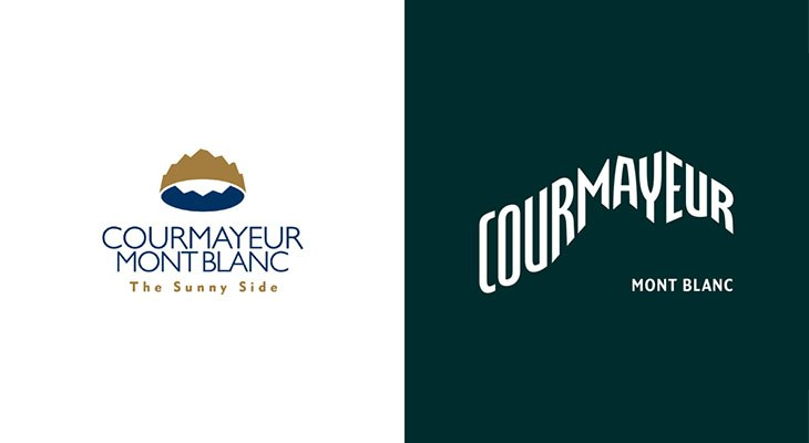 vecchio e nuovo logo Courmayeur