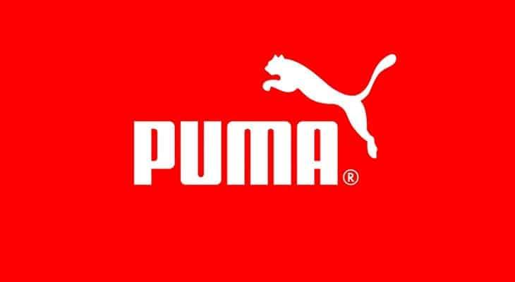 Logo Puma su fondo rosso